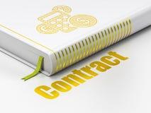 Bedrijfsconcept: boekcalculator, Contract op witte achtergrond Royalty-vrije Stock Foto's
