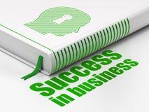 Bedrijfsconcept: boekhoofd met Sleutelgat, Succes in zaken op witte achtergrond Stock Foto