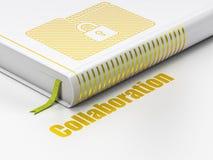 Bedrijfsconcept: boekomslag met Slot, Samenwerking op witte achtergrond Royalty-vrije Stock Fotografie