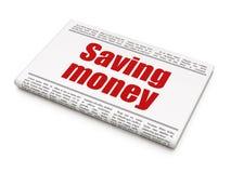 Bedrijfsconcept: de Besparingsgeld van de krantenkrantekop Stock Afbeelding