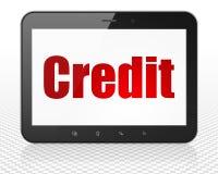 Bedrijfsconcept: De Computer van tabletpc met Krediet op vertoning Stock Foto