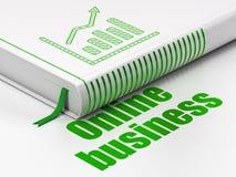 Bedrijfsconcept: de Grafiek van de boekgroei, Online Zaken op witte achtergrond Royalty-vrije Stock Fotografie