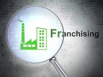 Bedrijfsconcept: De de industriebouw en de Franchising met optisch glas vector illustratie