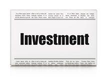Bedrijfsconcept: de Investering van de krantenkrantekop Stock Fotografie