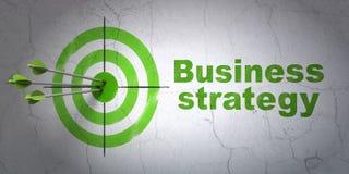 Bedrijfsconcept: doel en Bedrijfsstrategie op muurachtergrond Stock Afbeeldingen