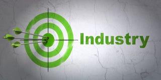 Bedrijfsconcept: doel en Industrie op muurachtergrond Stock Foto's