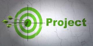Bedrijfsconcept: doel en Project op muurachtergrond Stock Fotografie