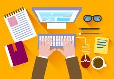 Bedrijfsconcept een Desktop bij bureau vlakke stijl royalty-vrije illustratie