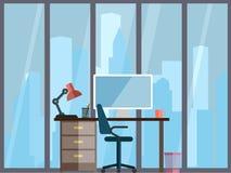 Bedrijfsconcept een Desktop bij bureau vlakke stijl Royalty-vrije Stock Foto
