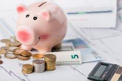 Bedrijfsconcept, een varken-piggy bank stock afbeelding