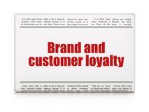 Bedrijfsconcept: het Merk van de krantenkrantekop en Klantenloyaliteit Stock Fotografie