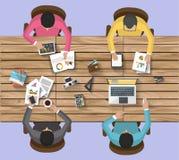 Bedrijfsconcept - het werkconcept - vlak ontwerp Stock Foto