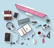 Bedrijfsconcept - het werkconcept - vlak ontwerp - plaats van het werk Stock Foto