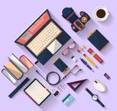 Bedrijfsconcept - het werkconcept - vlak ontwerp - plaats van het werk Stock Afbeelding