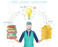 Bedrijfsconcept het zoeken van beste idee om geld te maken stock illustratie