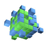 Bedrijfsconcept, kubus die van blokken assembleren Stock Afbeeldingen