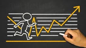 bedrijfsconcept: lopende persoon op financiële grafiek stock afbeeldingen