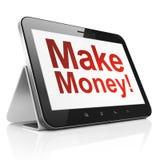 Bedrijfsconcept: Maak Geld! op de computer van tabletpc Stock Fotografie