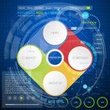 Bedrijfsconcept met 4 opties, delen, stappen of processen HUD Stock Foto