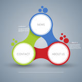 Bedrijfsconcept met 3 opties, delen, stappen of processen Malplaatje voor diagram, grafiek, presentatie en grafiek Het Ontwerp va Stock Foto