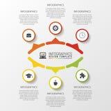 Bedrijfsconcept met 6 opties, delen, stappen of processen Malplaatje voor diagram, grafiek, presentatie en grafiek Vectorillustra Royalty-vrije Stock Foto's