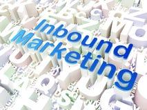 Bedrijfsconcept: Naderend Op de markt brengend op alfabetachtergrond Stock Foto's