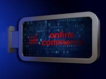 Bedrijfsconcept: Online Handel en de Groeigrafiek op aanplakbordachtergrond vector illustratie