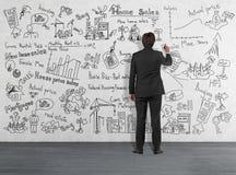 Bedrijfsconcept op muur Stock Afbeelding