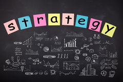 Bedrijfsconcept - schets met regelingen en grafieken op bord royalty-vrije stock afbeelding