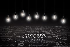 Bedrijfsconcept - schets met regelingen en grafieken op bord royalty-vrije illustratie