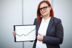 Bedrijfsconcept succes en de groei Een succesvolle vrouwenwerkgever, stock foto