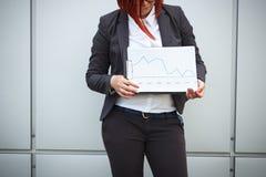 Bedrijfsconcept succes en de groei Een vrouwenwerkgever, in een kostuum royalty-vrije stock afbeelding
