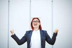 Bedrijfsconcept succes en onderhandeling Een vrouwenwerkgever, in a royalty-vrije stock afbeeldingen