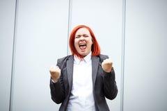 Bedrijfsconcept succes Ernstige Succesvolle Vrouwenchef-kok, in a royalty-vrije stock afbeelding
