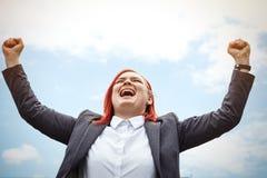 Bedrijfsconcept succes Ernstige Succesvolle Vrouwenchef-kok, in a stock afbeelding