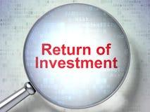 Bedrijfsconcept: Terugkeer van Investering met optisch glas Stock Foto