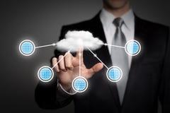 Bedrijfsconcept - virtuele touchscreen van zakenmanpersen interface - wolk gegevensverwerking stock afbeelding