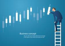 Bedrijfsconcepten vectorillustratie van een mens op ladder met de achtergrond van de kandelaargrafiek, concept effectenbeurs vector illustratie