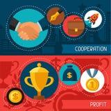 Bedrijfsconceptenbanners van samenwerking en winst vector illustratie