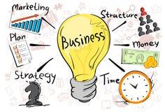 Bedrijfsconceptenstrategie Marketing de Hand van de Plankrabbel trekt Schetsachtergrond stock illustratie