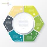 Bedrijfsconceptontwerp met cirkel en 6 segmenten Infographic royalty-vrije illustratie
