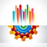 Bedrijfsconceptontwerp met toestellen en pijlen Stock Afbeeldingen