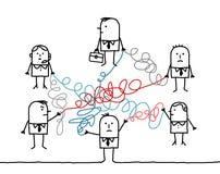 Bedrijfsdiemensen door verwarde koorden worden verbonden Royalty-vrije Stock Afbeelding