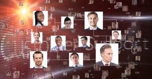 Bedrijfsdiemensen tegen klantenondersteuningsachtergrond worden verbonden vector illustratie