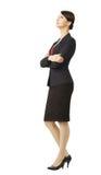 Bedrijfsdievrouw in kostuum, over witte achtergrond wordt geïsoleerd, volledige len Royalty-vrije Stock Foto's