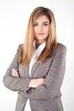 Bedrijfsdievrouw op witte achtergrond wordt geïsoleerd Royalty-vrije Stock Foto