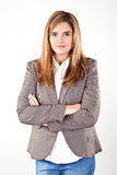 Bedrijfsdievrouw op witte achtergrond wordt geïsoleerd Stock Afbeeldingen