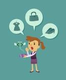 Bedrijfsdievrouw uit geld in werking wordt gesteld Stock Afbeeldingen