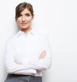 Bedrijfsdievrouwenportret op wit wordt geïsoleerd Stock Afbeelding