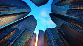 Bedrijfsdistrict met moderne wolkenkrabbers stock videobeelden
